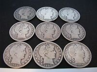 BARBER HALF LOT 2 WITH 1895 1896 1894 1899 S