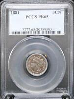 1881 P THREE 3 CENT PIECE NICKEL   PR65 PCGS    COIN IN A PROOF