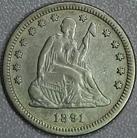1891 S SEATED QUARTER XF DETAILS 25C US COIN LOT 823A