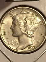 1939 MERCURY SILVER DIME   DOUBLE DIE OBVERSE SECOND 9 LIGHTLY CIRCULATED