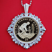US 2009 NATIVE AMERICAN SACAGAWEA DOLLAR PROOF COIN 925 STERLING SILVER NECKLACE