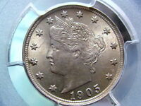 1905 LIBERTY V NICKEL, PCGS MINT STATE 63  GOOD EYE APPEAL