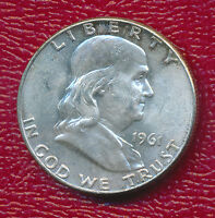 1961 D FRANKLIN SILVER HALF DOLLAR ABOUT UNCIRCULATED