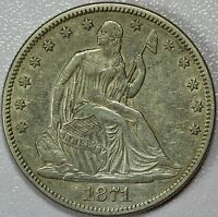 1871 SEATED HALF DOLLAR AU DETAILS 50C US COIN LOT 477