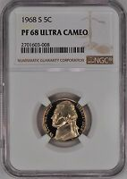 1968 S JEFFERSON NICKEL PROOF NGC PF 68 ULTRA CAMEO / PR68DCAM. FROSTY