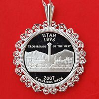 US 2007 UTAH STATE QUARTER SILVER PROOF COIN 925 STERLING SILVER NECKLACE