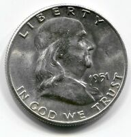 1951 P U.S. FRANKLIN HALF DOLLAR BRILLIANT UNCIRCULATED   NICE LUSTER