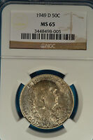 1949 D FRANKLIN HALF DOLLAR NGC MS65  STRONG LUSTER NICE TONE GEM EXAMPLE
