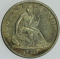 1875 S SEATED LIBERTY HALF DOLLAR AU DETAILS 50C US COIN LOT 042