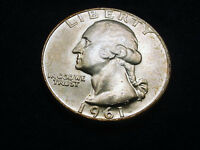 1961 D WASHINGTON QUARTER GREAT GEM BU COIN  8