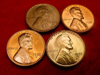 1954 S 1955 D 1955 S & 1956 LINCOLN CENT GREAT BU COINS  8