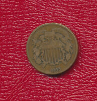 1865 TWO CENT 2 CENT COPPER PIECE  CIRCULATED U.S. TYPE COIN FREE SHIP