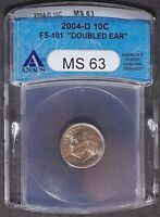 2004 D ROOSEVELT DIME   DOUBLED EAR FS 101 ANACS MS63   CHERRYPICKERS GUIDE 10