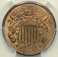 PCGS MINT STATE 65 RB 1864 TWO CENT PIECE LARGE MOTTO 2C           LXZ43