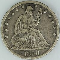 1858 S SEATED HALF DOLLAR FINE 50C US COIN LOT 1355