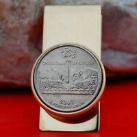 2007 UTAH STATE QUARTER GOLD PLATED SOLID BRASS PILL BOX MONEY CLIP