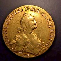 10 ROUBLES RUBLES 1766 GOLD RUSSIA EKATERINA II