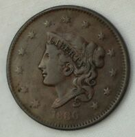 1836 CORONET HEAD 1C LARGE CENT EARLY U.S. PENNY COIN 17723