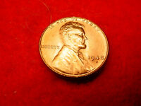 1948 D LINCOLN CENT GEM BU RED TONED CENT FROM ORIGINAL ROLL  24