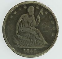 1845 O SEATED LIBERTY HALF DOLLAR F DETAILS 50C US COIN LOT 056