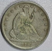 1867 S SEATED HALF DOLLAR XF DETAILS 50C US COIN LOT 751