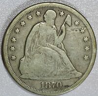 1870 SEATED LIBERTY DOLLAR VG/FINE DETAILS US COIN LOT 932