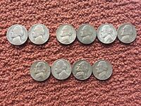LOT OF 10 JEFFERSON NICKELS WARTIME SILVER ALLOY WAR 5 CENT COINS 1942 1943 1945