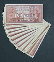 FRENCH INDOCHINA   LOT OF 80 NOTES   10 CENTS 1939    P 85D P85D XF AU