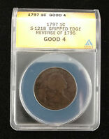 1797 US LARGE CENT S-121B GRIPPED EDGE REVERSE OF 1795 ANACS GOOD 4