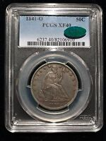 1841 O SEATED LIBERTY HALF DOLLAR PCGS XF40 CAC EXTRA FINE ORIGINAL NO MOTTO 50C