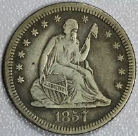 1857 O SEATED QUARTER XF DETAILS 25C US COIN LOT 811A