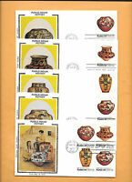 1977 US FDC FIRST DAY COVERS 1706-09 PUEBLO ART SET OF 4  BLOCK COLORANO SILK