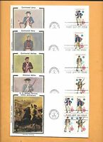 1975 US FDC FIRST DAY 1565-68 MILITARY UNIFORMS SET OF 4  BLOCK COLORANO SILK