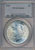 1923 PEACE SILVER DOLLAR  GORGEOUS PCGS CERTIFIED MS63