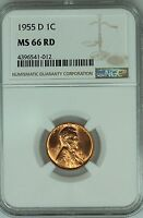 1955 D LINCOLN CENT NGC MS66 RD RED 1C WHEAT PENNY US COIN LOT 1540