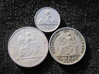 1900 GUATEMALA REAL,1/2 REAL 1/4 REAL    1 SILVER COIN 2 COPPER/NICKEL COINS
