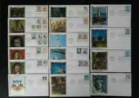 FDC COLLECTION OF 16 DIFFERENT AMERICANA SERIES COLORANO SILK FIRST DAY COVERS