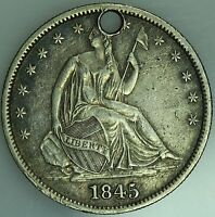 1845 O SEATED HALF DOLLAR XF DETAILS 50C US COIN LOT 1716