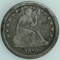 1860 SEATED QUARTER VG GOOD 25C US COIN LOT 1692