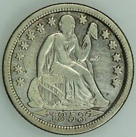 1853 O SEATED DIME XF DETAILS 10C US COIN LOT 1730