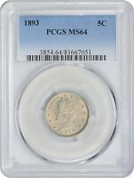 1893 LIBERTY NICKEL MINT STATE 64 PCGS MINT STATE 64