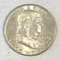 1954 D FRANKLIN HALF GREAT LUSTER AND DETAIL   HIGH QUALITY SCANS B437