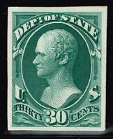 USA STAMP O66 P4 30C OFFICIAL STATE 1873 PLATE PROOF CARD STAMP