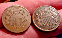4 NICE UNITED STATES 2 CENT PIECES TWO 1864 & TEO 1865 GOOD
