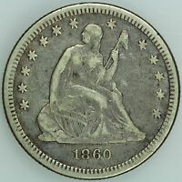 1860 SEATED QUARTER XF DETAILS 25C US COIN LOT 2075