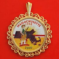 US 2000 COLORIZED MASSACHUSETTS STATE QUARTER COIN GOLD PLATED PENDANT NEW