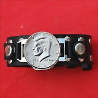 2001 US KENNEDY HALF DOLLAR COIN STUDDED LEATHER BRACELET NOS