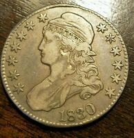 1830 50C LARGE 0 CAPPED BUST HALF DOLLAR