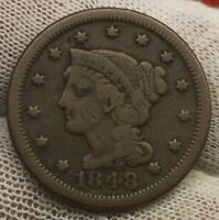 1848 LARGE CENT BRAIDED HAIR X720 UNITED STATES 1 CENT COPPER PENNY