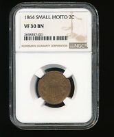1864-P SMALL MOTTO TWO CENT PIECE 2C NGC VF 30 BROWN BN
